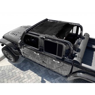 Fits Jeep Gladiator JT, 4 Door, Teddy® Top, Solar Screen, 2019-Present.  Black. Made in the USA.