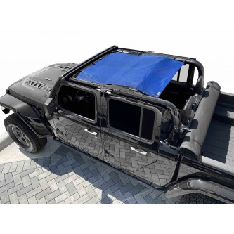 Fits Jeep Gladiator JT, 4 Door, Teddy® Top, Solar Screen, 2019-Present.  Blue. Made in the USA.