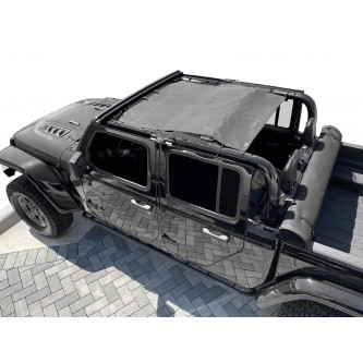 Fits Jeep Gladiator JT, 4 Door, Teddy® Top, Solar Screen, 2019-Present.  Gray. Made in the USA.