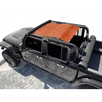 Fits Jeep Gladiator JT, 4 Door, Teddy® Top, Solar Screen, 2019-Present.  Orange. Made in the USA.