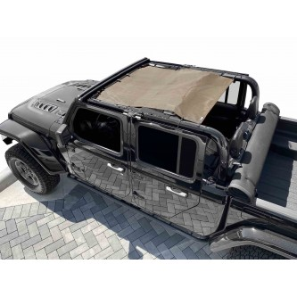 Fits Jeep Gladiator JT, 4 Door, Teddy® Top, Solar Screen, 2019-Present.  Tan. Made in the USA.