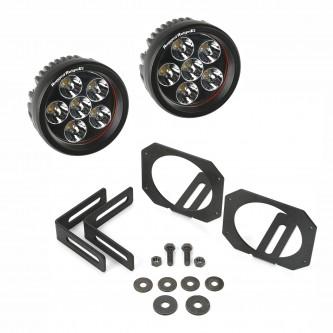 11232.27 Rugged Ridge Round LED Light Mounting Kit Jeep Wrangler JK 2007-2014
