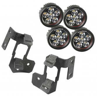 11232.34 Rugged Ridge Black Textured A-Pillar Dual Light Mount Pair With Round LED Lights- fits Jeep Wrangler 2007-2016