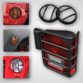 12496.02 Rugged Ridge 10 Piece Black Euro Guard Light Kit with Fog Lights- Jeep Wrangler JK 2007-201