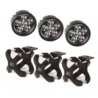 15210.06 Rugged Ridge X Clamp and Round LED Kit, 3 Pieces, Black