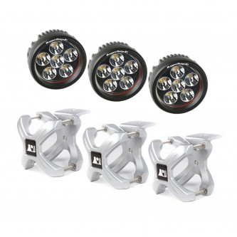 15210.15 Rugged Ridge X Clamp and Round LED Kit, 3 Pieces, Silver