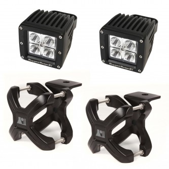 15210.22 Rugged Ridge Black X-Clamp Pair With LED Cube Lights For 1.25