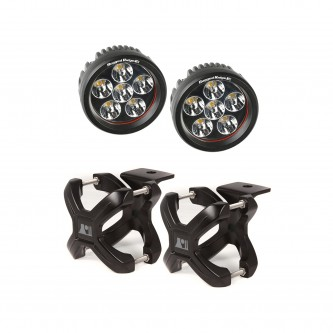 15210.25 Rugged Ridge Black X-Clamp Pair With Round LED Lights For 1.25