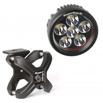 15210.40 Rugged Ridge X-Clamp & Round LED Light Kit, Small, Textured Black