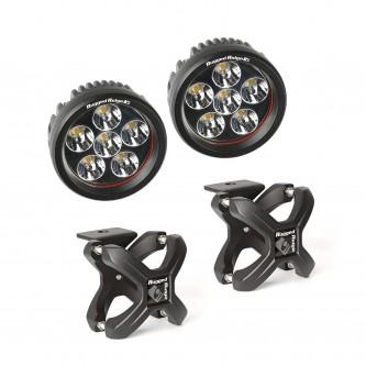 15210.41 Rugged Ridge X-Clamp & Round LED Light Kit, Small, Textured Black, 2-Piece