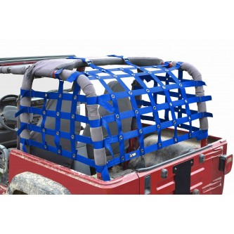 Steinjäger Rear Teddy® Top Premium Cargo Net fits Jeep Wrangler TJ, 2 inch Blue Webbing, Black Grommets. Made in the USA.