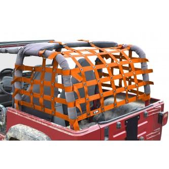 Steinjäger Rear Teddy® Top Premium Cargo Net fits Jeep Wrangler TJ, 2 inch Orange Webbing, Black Grommets. Made in the USA.