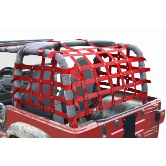 Steinjäger Rear Teddy® Top Premium Cargo Net fits Jeep Wrangler TJ, 2 inch Red Webbing, Black Grommets. Made in the USA.
