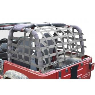 Steinjäger Rear Teddy® Top Premium Cargo Net fits Jeep Wrangler TJ, 2 inch Gray Webbing, Black Grommets. Made in the USA.