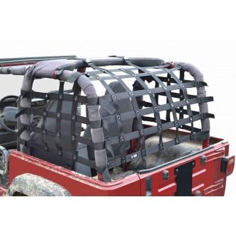 Steinjäger Rear Teddy® Top Premium Cargo Net fits Jeep Wrangler TJ, 2 inch Black Webbing, Black Grommets. Made in the USA.