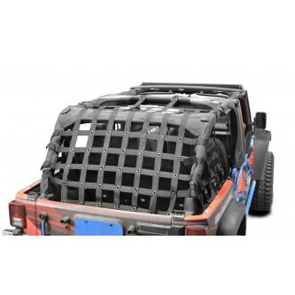 Steinjäger Rear Teddy® Top Premium Cargo Net to fit Jeep Wrangler 4 Door JKU, 2 inch Black Webbing, Black Grommets. Made in the USA.
