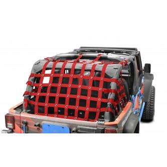 Cargo Net, Jeep JKU, 4 Door Kit, 2 inch webbing, Red