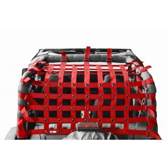 Teddy® Top Cargo Net Kit, Jeep YJ, 2 inch webbing, Red