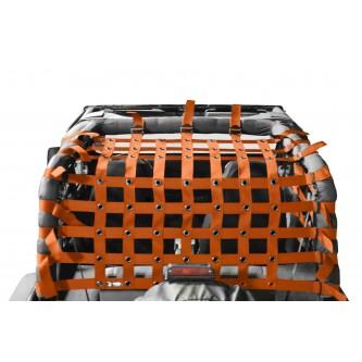 Teddy® Top Cargo Net Kit, Jeep YJ, 2 inch webbing, Orange