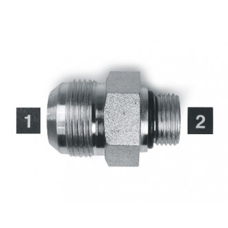 SS-6400-12-08, Hydraulic Adapters, Union, Male, JIC-ORB, Stainless, 1-1/16-12, 3/4-16