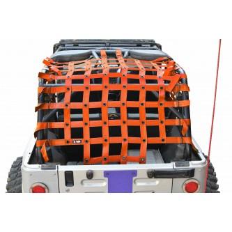 Jeep Wrangler LJ, Teddy® Top Cargo Net Kit, 2 inch webbing, Orange.  Made in the USA