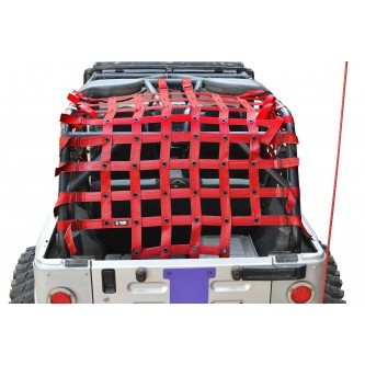 Jeep Wrangler LJ, Teddy® Top Cargo Net Kit, 2 inch webbing, Red.  Made in the USA