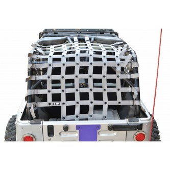 Jeep Wrangler LJ, Teddy® Top Cargo Net Kit, 2 inch webbing, Gray.  Made in the USA
