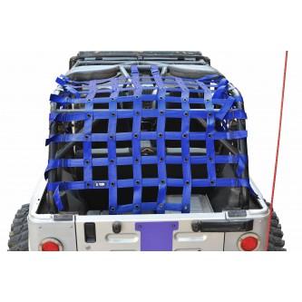 Jeep Wrangler LJ, Teddy® Top Cargo Net Kit, 2 inch webbing, Blue.  Made in the USA