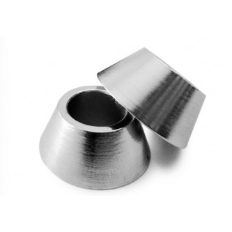 DLS-6mm, Rod End Spacers, Plated Steel, 6mm Bore, 0.370 Thick Cone Style Chrome Plated
