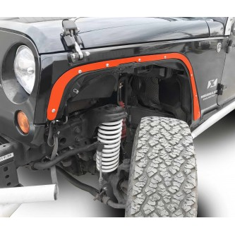 Fits Jeep JK 2007-2018, Front Fender Deletes.  Fluorescent Orange.  Kit includes two front fender deletes.  Made in the USA.