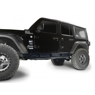 Fits Jeep Wrangler JLU, 2018 to Present, 4 Door Rock Slider Kit. Powder Coated Black, Made in the USA