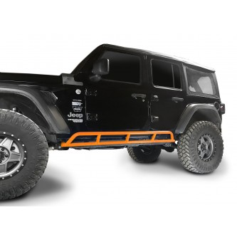 Fits Jeep Wrangler JLU, 2018 to Present, 4 Door Rock Slider Kit. Powder Coated Fluorescent Orange, Made in the USA