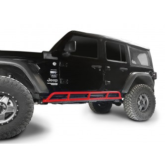 Fits Jeep Wrangler JLU, 2018 to Present, 4 Door Rock Slider Kit. Powder Coated Red Baron, Made in the USA