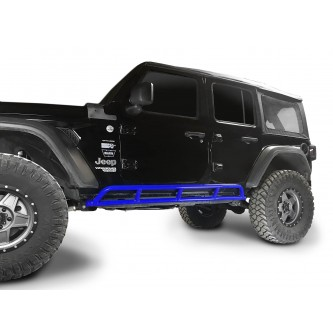 Fits Jeep Wrangler JLU, 2018 to Present, 4 Door Rock Slider Kit. Powder Coated Southwest Blue, Made in the USA