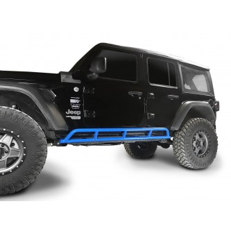 Fits Jeep Wrangler JLU, 2018 to Present, 4 Door Rock Slider Kit. Powder Coated Playboy Blue, Made in the USA