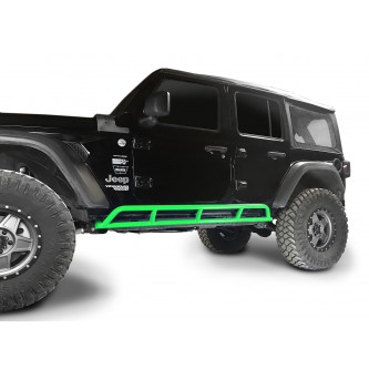 Fits Jeep Wrangler JLU, 2018 to Present, 4 Door Rock Slider Kit. Powder Coated Neon Green, Made in the USA