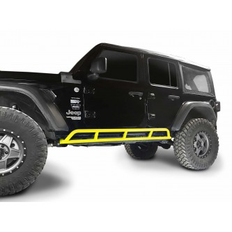 Fits Jeep Wrangler JLU, 2018 to Present, 4 Door Rock Slider Kit. Powder Coated Neon Yellow, Made in the USA