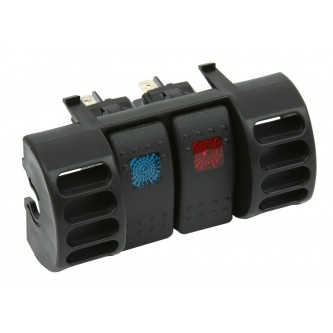 Daystar Jeep Accessories Switch Pod; Air Vent; Includes (2) Rocker Switches, 87-96 Jeep TJ Upper Air Vent Switch Pod with (2) Rocker Switches; Blue & Red