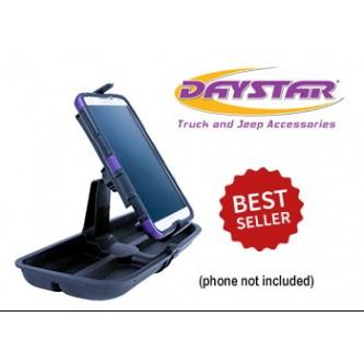 Daystar Jeep Accessories Upper Dash Panel with Large I Phone & I Phone Plus; Mini Pad;  Cradle; Black, 11-18 Upper Dash Panel with Large I Phone & I Phone Plus; Mini Pad; Mount; Black