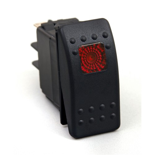 Daystar Jeep Accessories ROCKER SWITCH - RED LIGHT; 20 AMP; Single POLE, ROCKER SWITCH; RED