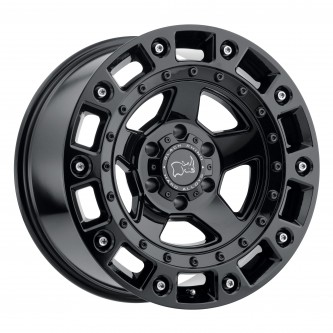 Black Rhino Cinco 17x9.5 6/139.7 Et-18 Cb112.1 Gloss Black W/Stainless Bolt Wheel